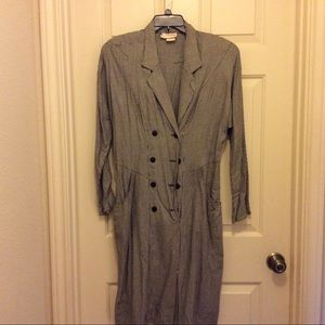 Vintage black white check double breasted 12 dress
